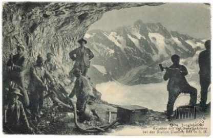 Postcard from Switzerland, showing the Mont Cenis tunnel, sent to an address in Florence