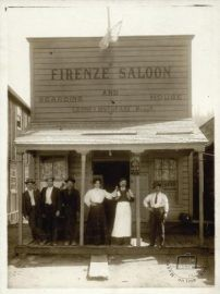 U.S.A., California, Truckee, early 20th century. Luisa and Leone Cristofani in front of their café
