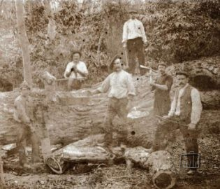 Brazil, Southern Rio Grande, early 1900s. Men, women and children working in a brickworks