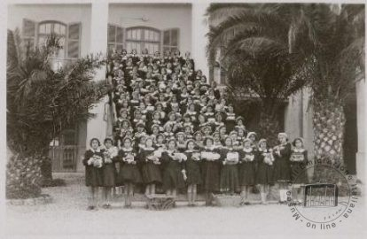 Tunisia, Tunis. A girls' class from the local Italian school