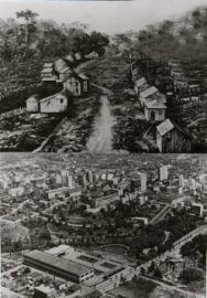 Brazil, Southern Rio Grande, Caxias. Raffaele Rossi, originally from Collespina, Lucca, emigrated with his family in 1875. He co-founded the city of Caxias with a group of settlers from the Veneto. Here are two pictures of the city: at its origins and in the modern age