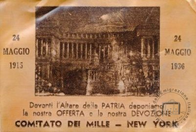 In 1936 and subsequent years, in order to help pay sanctions imposed on Italy by the international community after the war in Ethiopia, Italians in the United States sent copper postcards which were intended to provide an albeit small contribution to offset the lack of raw materials